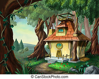 House in the wood - Fantasy house in a wood. Digital...