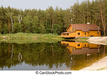 House in the woods above the lake
