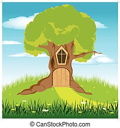 House in tree - Illustration of a little door in a tree...