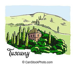 house in Tuscany with mountains in the background