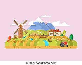 House in village, farm