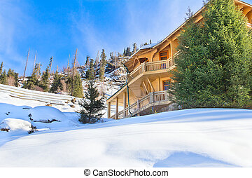 house in winter mountain