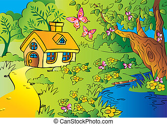 House in woods. - Little house in woods. Vector art-...