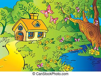 Little house in woods. Vector art-illustration.