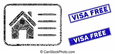 House Info Card Mosaic and Scratched Rectangle Visa Free Stamp Seals
