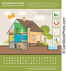 House infographic - House template infographics. Modern...