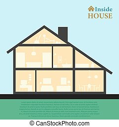 House inside. Detailed modern house interior in cut. Flat style vector illustration eps10. Rooms with furniture and object