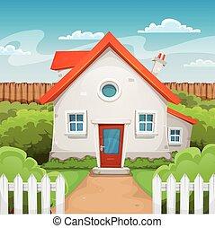 House Inside Garden - Illustration of a cartoon domestic ...