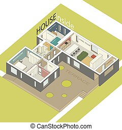 Isometric illustration of the house inside. Interior of a modern house.