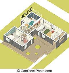 House inside - Isometric illustration of the house inside....