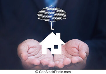 House insurance - Business man holding a house icon...