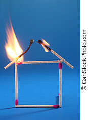 house insurance - close up matchstick house is burning