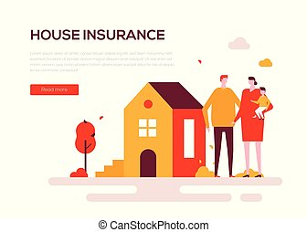 House insurance - colorful flat design style web banner