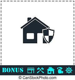 House insurance icon flat