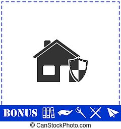House insurance icon flat