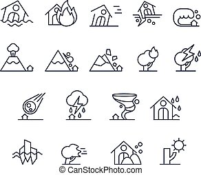 House Insurance Icon Set in Linear Style. Vector Illustration