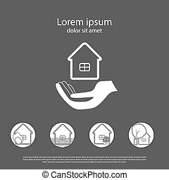 House insurance logo with the icons of insurance cases