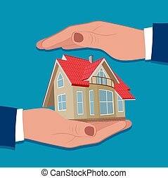 House insurance, protection concept, vector illustration