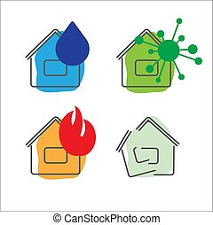 House insurance service icons. Vector illustration. Set