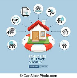 House insurance services. House with lifebuoy on blue...