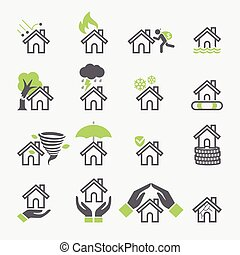House insurance services icons. Vector Illustrations.