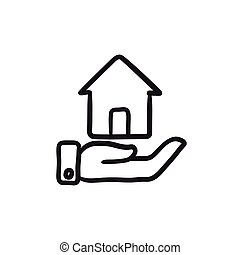 House insurance sketch icon.