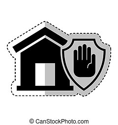 house insurance with hand stop isolated icon
