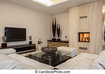 house:, interieur, helder, travertine