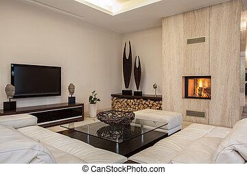 house:, interieur, helder, travertine