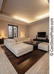 house:, interieur, verlicht, travertine