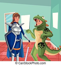 house interior background with half body warrior princess and lizard man costume