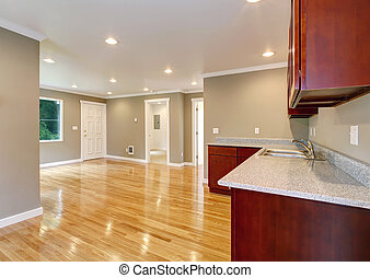 House interior. Empty living room with kitchen area