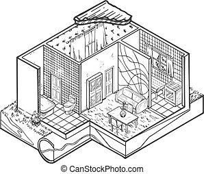 House interior hand drawn architecture illustration