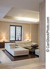 house:, interior, moderno, travertine