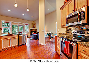 House interior open floor plan. Kitchen area