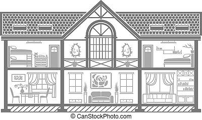 house interior silhouette. Vector illustration - house...