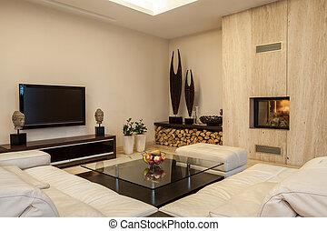 house:, interior, soluções, travertine, criativo