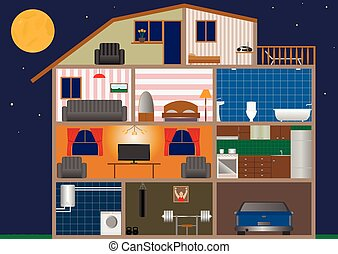 House interior - Vector illustration of a house interior on...