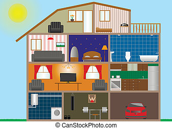 House interior - Vector illustration of house interior. Eps-...