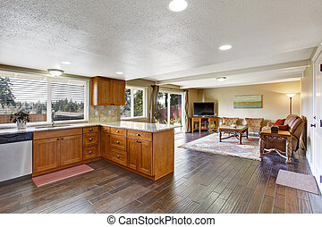 House interior with open floor plan. Kitchen and living room