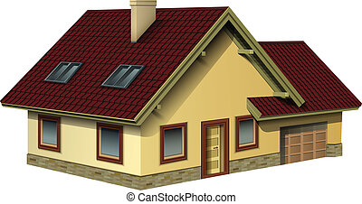 House isolated, detailed vector illustration.