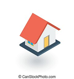 House isometric flat icon. 3d vector
