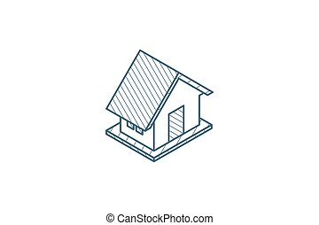 House isometric icon. 3d line art technical drawing. Editable stroke vector