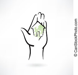 house it the hand grunge icon