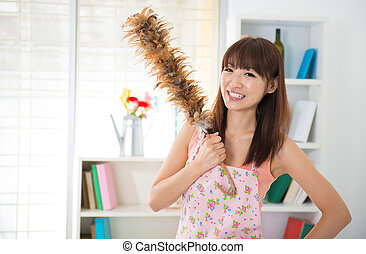 House keeping - Beautiful Asian woman housekeeping with...