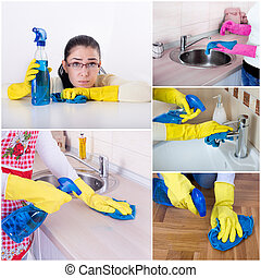 House keeping collage - Collage of unhappy smiling housewife...