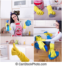 House keeping collage - Collage of young smiling housewife...