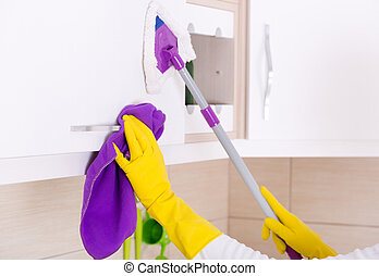 House keeping concept - Close up of human hands cleaning and...