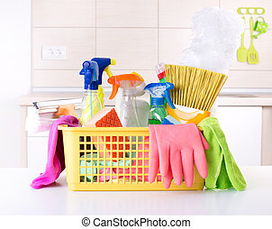 House keeping concept - Plastic basket full of cleaning...
