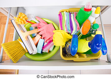 House keeping concept - Top view of cleaning supplies and...